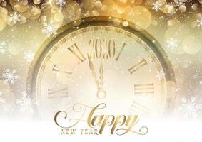 Oro felice anno nuovo con design dell'orologio