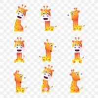 Giraffa di cartone animato con diverse pose ed espressioni. vettore