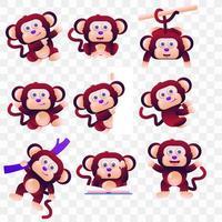 Scimmia di cartone animato con diverse pose ed espressioni. vettore