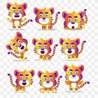 Tigre del fumetto con diverse pose ed espressioni. vettore