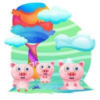 Biglietto di auguri Maiale simpatico cartone animato