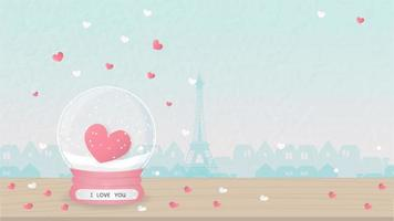 Carta di San Valentino con globo di neve cuore