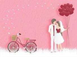 Coppie dello sposo e della sposa che abbracciano con gli aerostati del cuore vettore