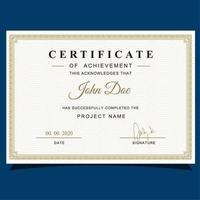 Certificato di apprezzamento stile classico