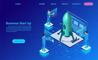 Business start up landing page di concetto