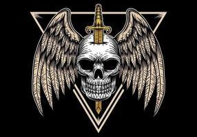 Illustrazione del distintivo dell'ala del cranio vettore