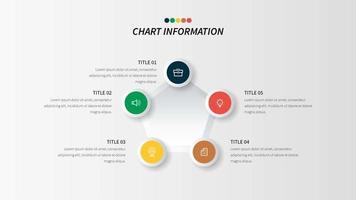Ciclo di cinque passaggi passo infografica con icone circolari di affari
