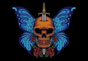 Illustrazione variopinta della farfalla dell'ala del cranio vettore