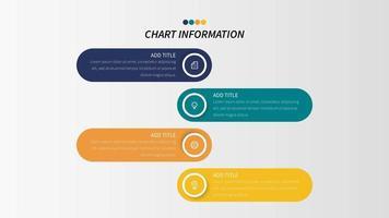 Infografica in quattro passaggi con forme arrotondate e icone di affari