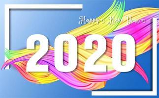 2020 Happy New Year. Elemento di design colorato olio pennello o vernice acrilica. Poster moderno flusso colorato. Forma del liquido di Wave in background.template isolato per il disegno. Illustrazione di vettore. vettore