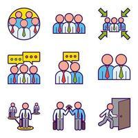 Icone di lavoro di squadra di affari