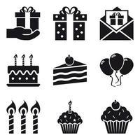 Set di icone di festa di compleanno vettore