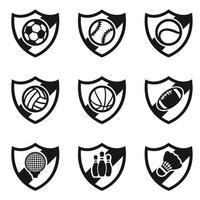 Set di icone di diversi sport scudi vettore