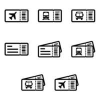 Set di icone di biglietti di trasporto