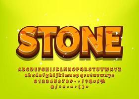 Alfabeto di pietra del fumetto 3d per il titolo del gioco vettore