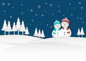 Pupazzo di neve felice sulle nevicate di Natale vettore