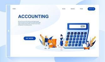 Modello di pagina di destinazione di contabilità con intestazione vettore