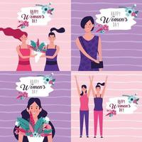 Set di carte del giorno delle donne felici vettore