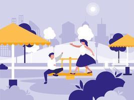coppia nel parco con icona isolata parco giochi