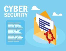 sicurezza informatica con busta e documento vettore