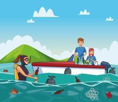 Cartoni animati per la pulizia del mare
