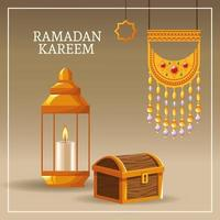 Ramadan Kareem con simboli islamici vettore