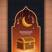 Ramadan Kareem con luna calante e arte islamica