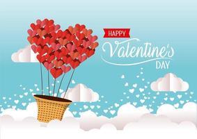 mongolfiera di cuori alla celebrazione di San Valentino vettore