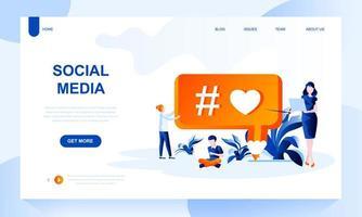 Modello di pagina di destinazione vettoriale social media con intestazione
