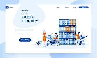 Modello della pagina di atterraggio di vettore della biblioteca del libro con intestazione