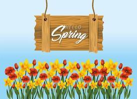 emblema di legno di primavera con piante di fiori esotici