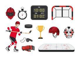 impostare l'attrezzatura da hockey professionale e l'uniforme del giocatore vettore