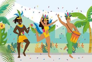 ballerini di uomini e ragazze con costume tradizionale vettore
