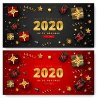 Insieme della bandiera di vendita di felice anno nuovo 2020 vettore