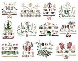 Set di auguri di buon Natale vettore