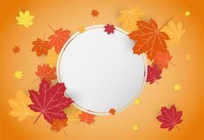 Carta di celebrazione felice giorno del ringraziamento con foglie di autunno acero arancione vettore