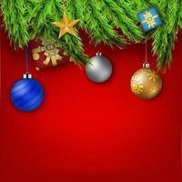 sfondo di Natale rosso con decorazioni natalizie.