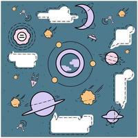 Oggetti spaziali e design a fumetto vettore