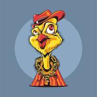Illustrazione vettoriale di pollo animale Gangster