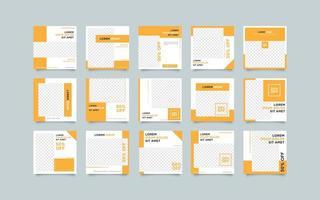 Set di modelli di post arancione social media