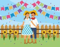 coppia donna e uomo che balla alla festa junina vettore