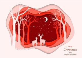 Buon Natale e felice anno nuovo con la famiglia dei cervi su sfondo rosso notte d'inverno