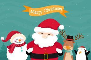 Biglietto di auguri di Natale con Babbo Natale e gli amici vettore