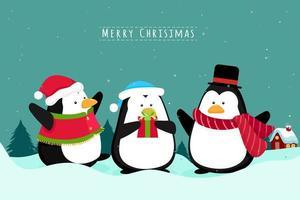 pinguini scena di Natale vettore