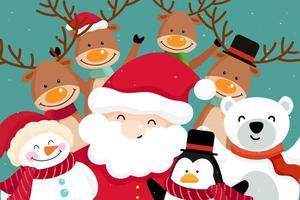 Biglietto di auguri di Natale con Babbo Natale e renne vettore