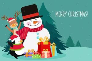 Biglietto di auguri di Natale con pupazzo di neve e renne vettore