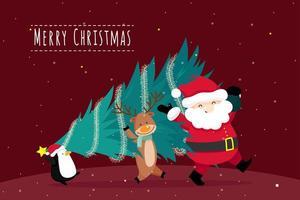 Biglietto di auguri di Natale con Babbo Natale e albero di Natale vettore
