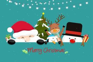 Biglietto di auguri di Natale con Santa Friends vettore