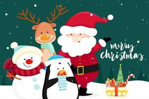 Biglietto di auguri di Natale con Babbo Natale, pupazzo di neve e pinguino vettore