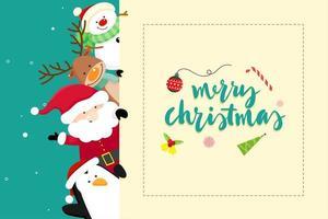 Messaggio di auguri di Natale con Babbo Natale vettore